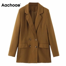 Aachoae Women Solid Casual Double Breasted Suit Blazer Ladie