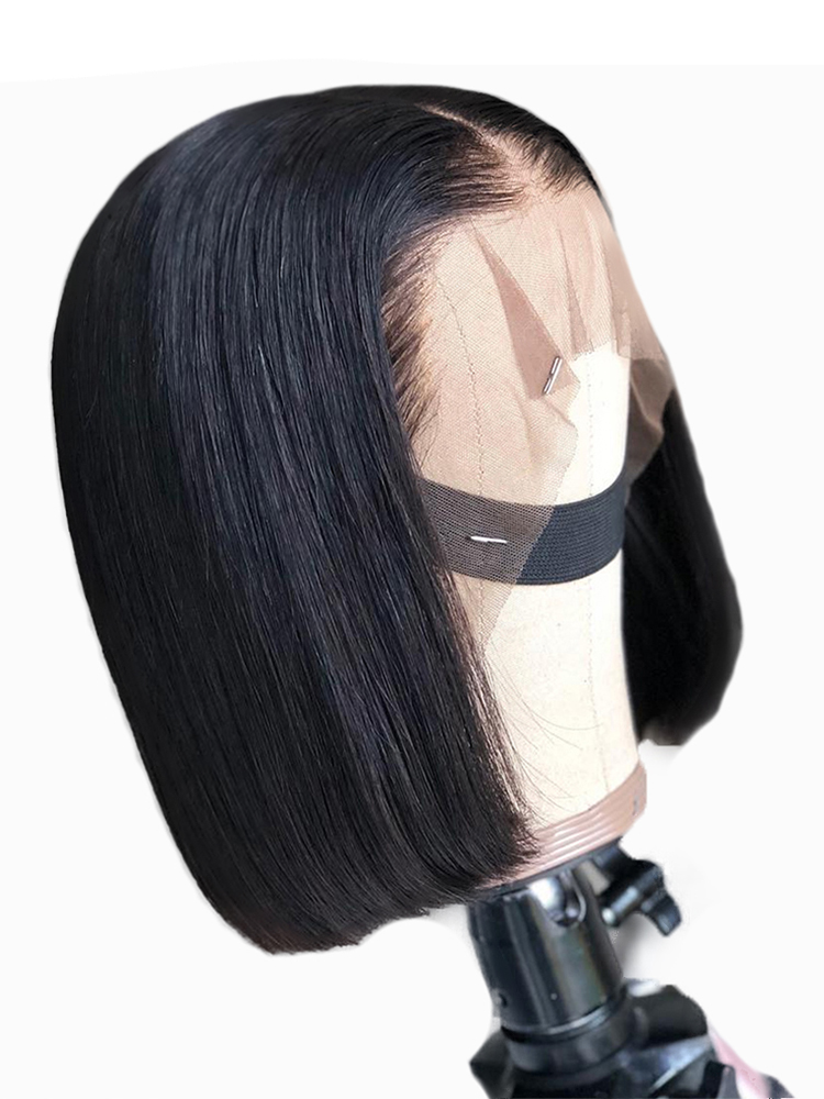 Bob Wigs Human-Hair Lace Deep-Middle-Part Remy Glueless 13x6 Black Women 13x4