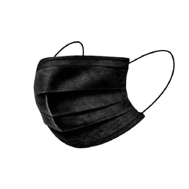 10pcs Disposable Black Face Mask 3 Layer Dustproof Nonwove Ply Face Mouth Masks Melt-blown Nonwovens Earloop Mouth Mask 4