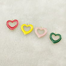 10pcs enamel charm heart charm jewelry accessories earrng pendant bracelet necklace charms18x18mm(China)