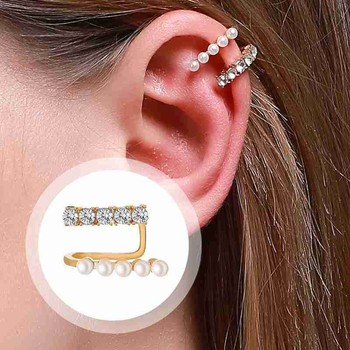 1pc Women's Fashion Temperament Pearl Ear Clip Wild Earrings Popular Commuting Party Girls Accessories image