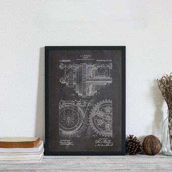 Engranajes de Metal patente Blueprint Vintage Print Art arte mecánico Gearing ilustraciones...