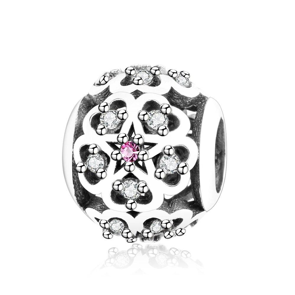 Fit Originální náramek Pandora Charms 925 Sterling Silver Bead se zirkonem Srdce do srdce Květ 2017 2017 DIY Šperky Berloque