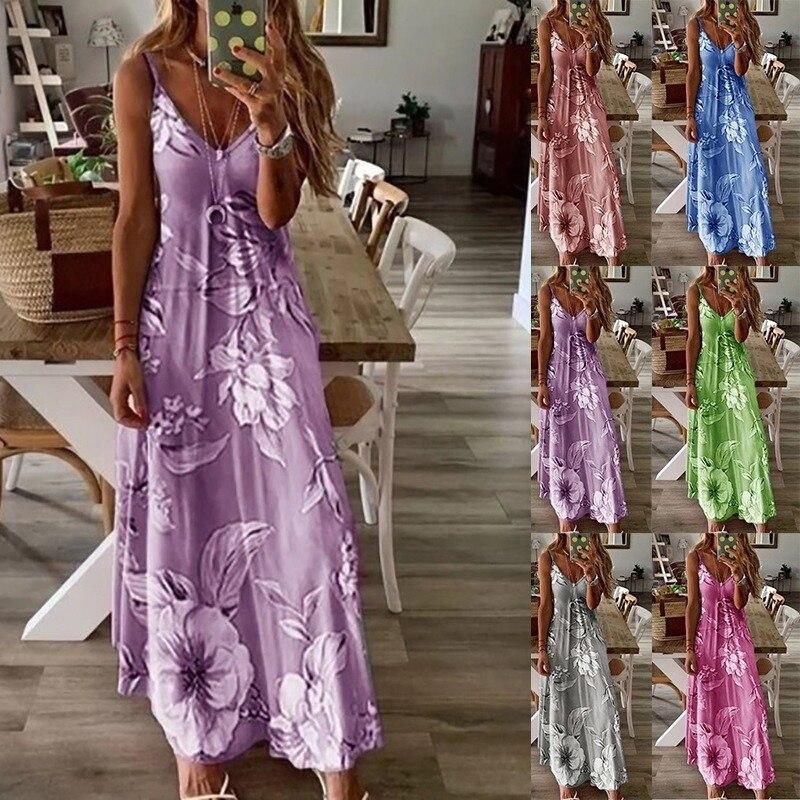 Blue Pink Flower Dress Spaghetti Strap Sleeveless Print Dress Women Summer Casual Long Dress Boho Beach Fit Flare Dresses Female