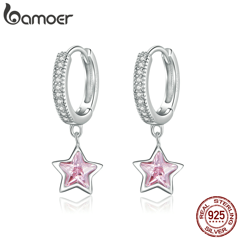 Bamoer 925 Sterling Silver Jewelry Dazzling Pink Star Cz Light Stud Earrings For Women Girls Gift Statement Jewelry Bse414 Special Discount 87825f Cicig