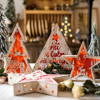 Red Tree Star Wood House Cute Christmas Xmas Tree LED Ornaments Holiday Christmas Decoration for Home Desktop Ornament New