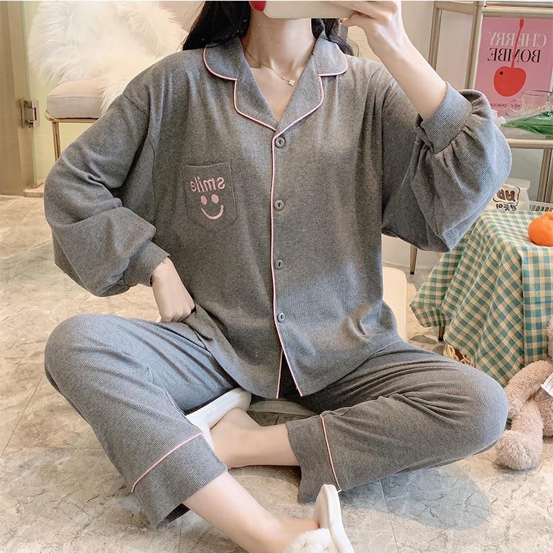 big size pajamas for women2021 spring stretch plus size loose pajamas smiley lady Nightgown