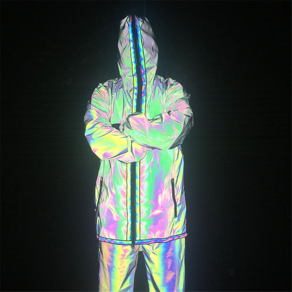 RUELK New Reflective Men's Sportswear Autumn Night Jogging Eye-Catching Tracksuit For Men Streetwear 2 Piece Suit Male Clothing