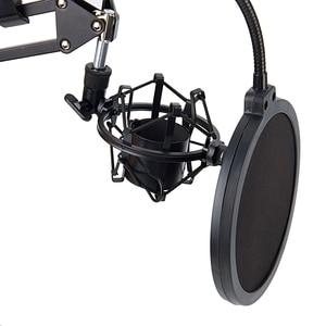 Image 4 - NB 35 mikrofon makas kol standı ve masa montaj kelepçesi ve NW filtre cam kalkanı ve Metal montaj kiti