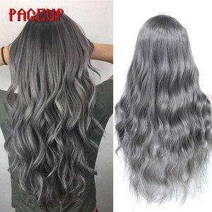 Image 2 - Pageup波状ヘアかつら女性のための前髪耐熱黒青ブロンドピンクグリーングレー合成かつら