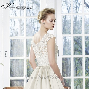 Image 2 - Vestidos De Novia 2019 New Simple Design Lace Appliques A Line Wedding Dress Elegant Sleeveless Court Train Bridal Gown