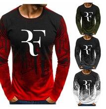 2020Men tkaniny dla RF Roger Federer Gradient O neck sweter mężczyźni moda bawełna tenis bluza Casual Hip Hop bluza z kapturem w stylu Harajuku
