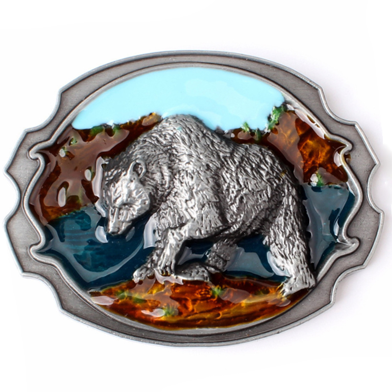[CKMN] Men Belt Buckle Polar Bear Pattern Plaque For Belt Men's Metal Smooth Belt Buckle Suitable For 3.8 -4.0 Cm Belt Hot Sale