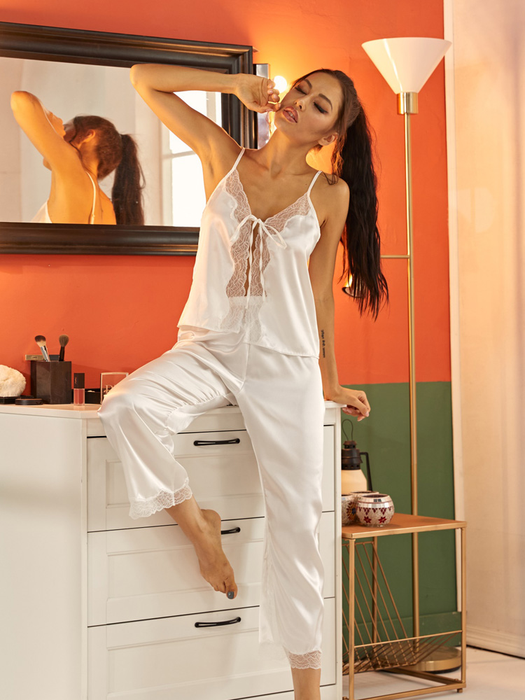 Womens Satin Pajama Sets Panel Tie Front Nightwear Lace Camisole with Pants Soft Sleeveless Sleepwear for Women