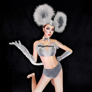 Bar Ds Costumes Nightclub Gogo Collar Dance Clothes Cute Mouse Suit Stage Outfit Gray Sexy Singer Clothing With Feather