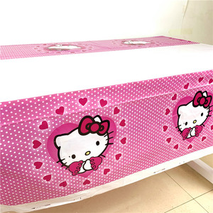 1PCS Pink Cartoon Hello Kitty 108*180CM Birthday Party Decoration Kid Party Supplies Disposable Tableware Tablecloth Baby Shower(China)