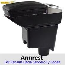 Storage-Box I/logan Renault Cup-Holder Armrest Sandero for Rotatable Black