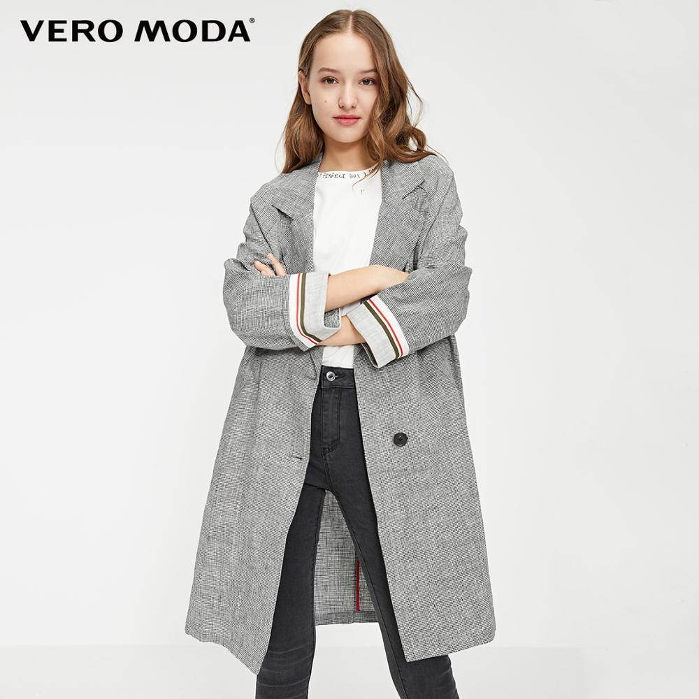 Vero Moda Women's Vintage Style Loose Fit Plaid Lapel Long Blazer | 319108531