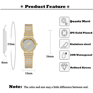 Image 3 - MISSFOX Small Womens Watch FF Unique Products Luxury Brand Diamond Watch Women Waterproof Analog 18K Gold Classic Iced Out Watch