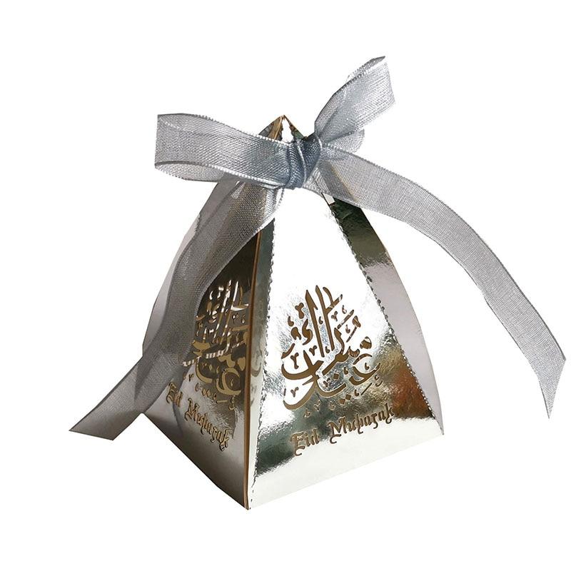 100pcs Laser Cut  Edi Mubarak Candy Gift Box Ramadan Islamic Party Favor Box Dragee Box Package With Ribbon EDI DIY Decoration