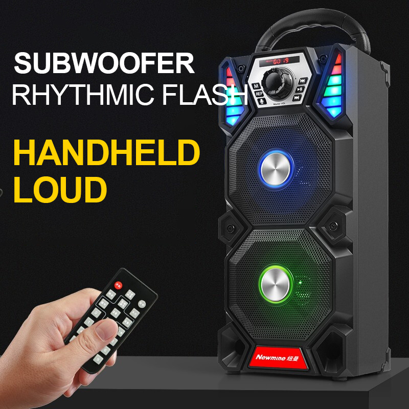 Newmine A1 Outdoor LED Light Bluetooth Speaker Wireless Support TF Card FM Mic Square Party Pull Rod KTV Portable Subwoofer 5