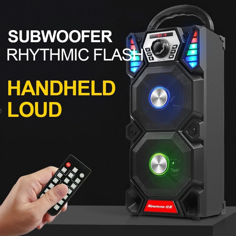Newmine A1 extérieur lumière LED Bluetooth haut parleur sans fil Support TF carte FM micro carré partie tirer tige KTV Portable Subwoofer - 5