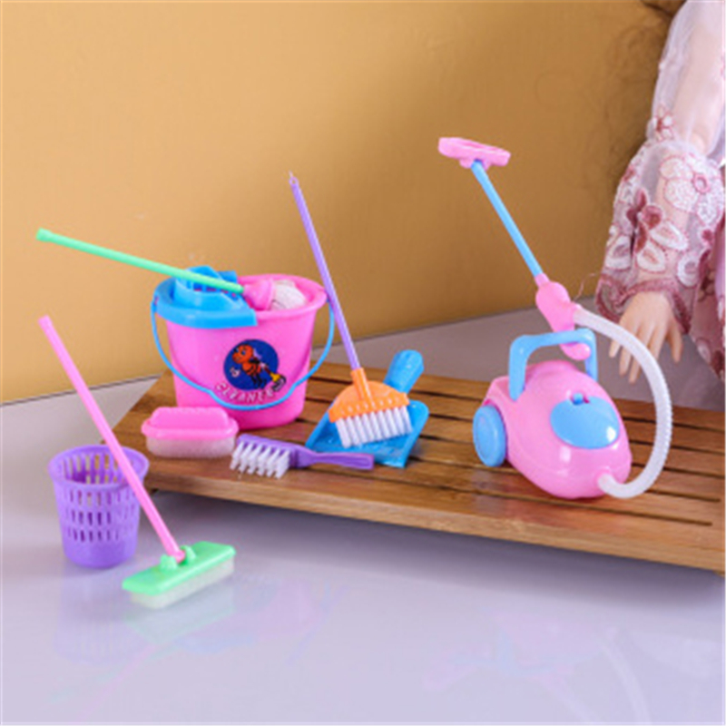 9PCS Furniture Toys Miniature House Cleaning Tool Doll House Accessories For Doll House Pretend Play Toy Things For Kids