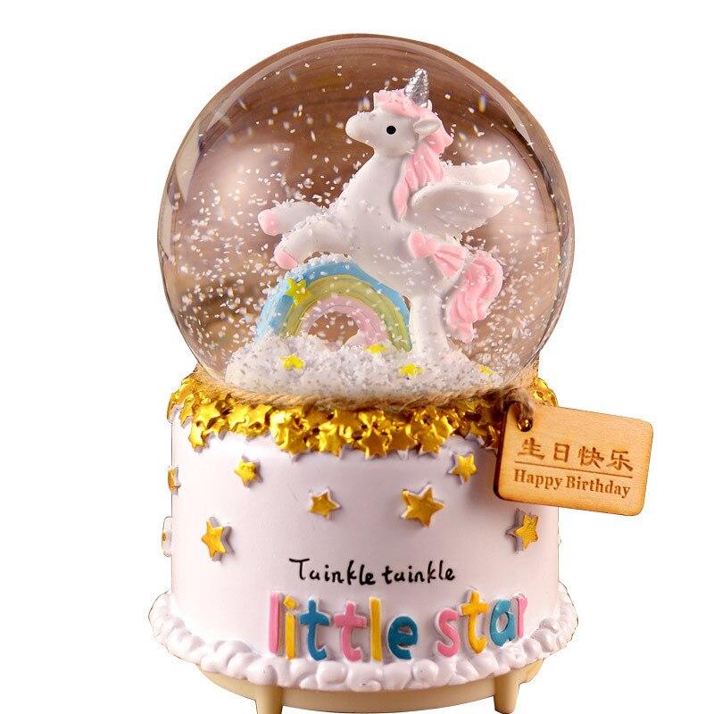 3D Crystal Ball Music Box Luminous Rotating LED Light Girl Child Gift For Birthday Christmas Moon Crystal Snowing Unicorn Lights