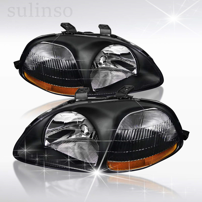 Sulinso Black Clear Headlights Head Lamps W/Amber Reflector For Honda Civic