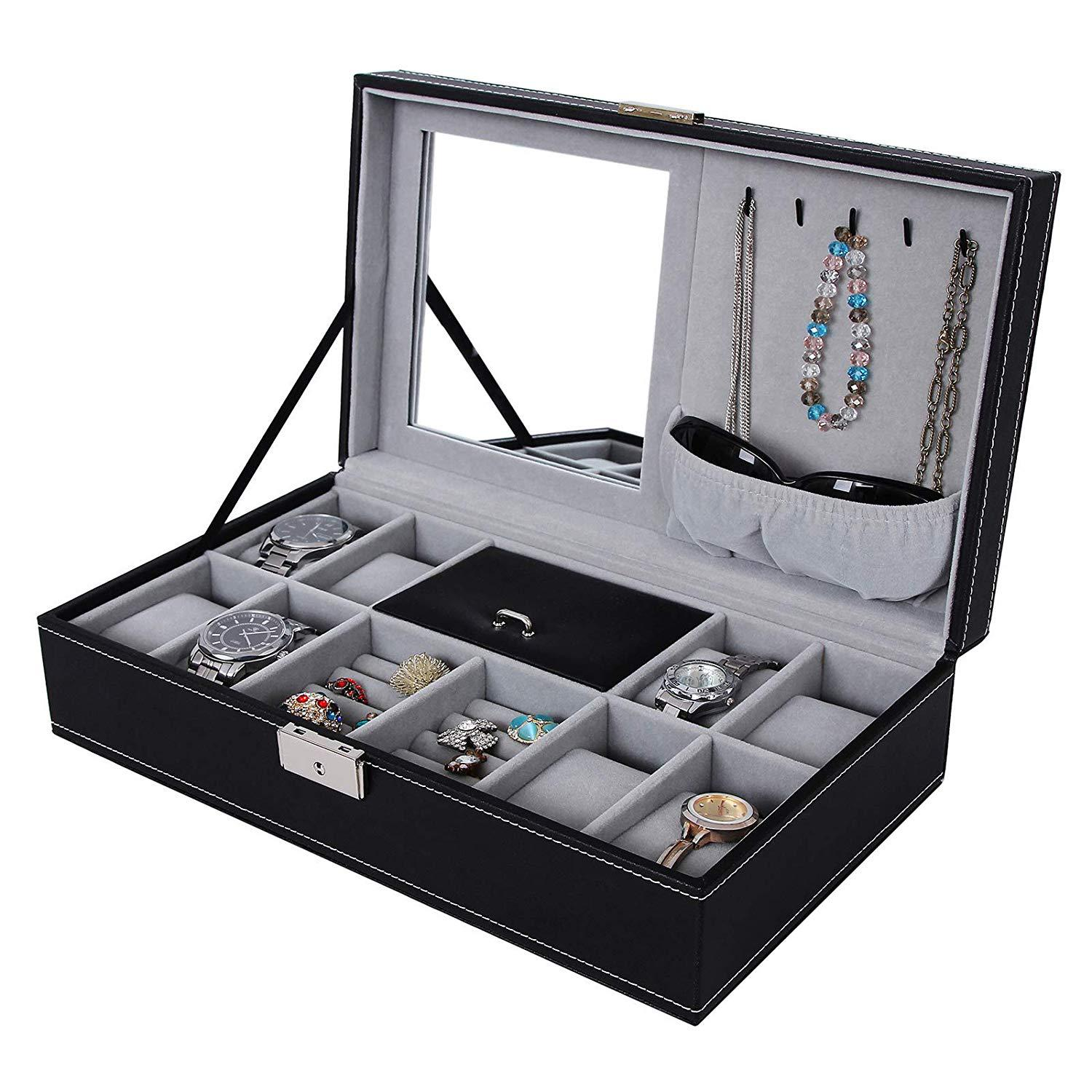 European Style PU Leather Watch Box Bracelets Storage Organizing Jewlery Box Multi-part Large-Volume Accessories Display Box