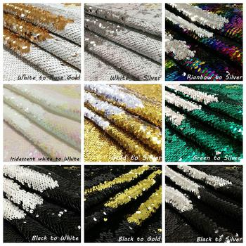 4FT*3FT Sequin Fabric Gold/Black Reversible Sequin Fabric for Dress/Table cloth/Runner/Wedding decoration/background material image