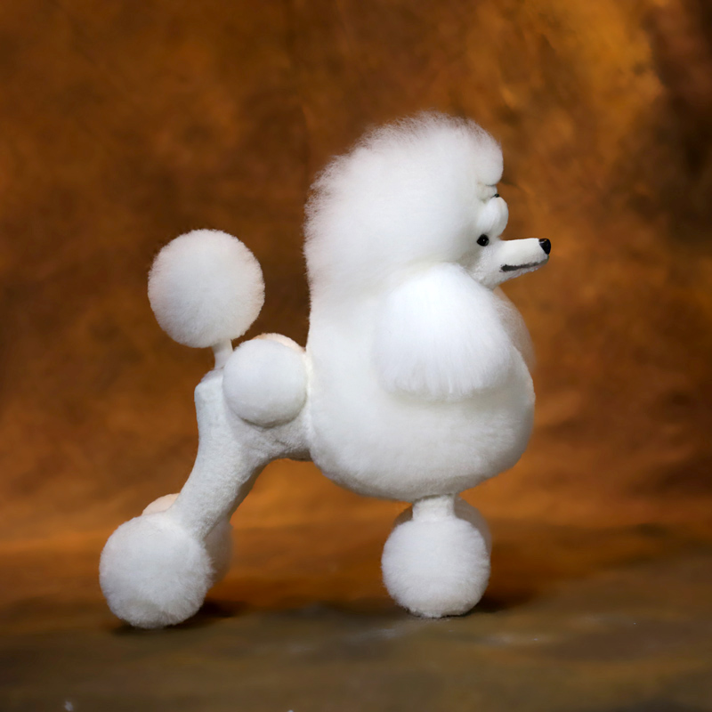 Free Shipping Grooming Model Dog Whole Bodywig Poodle Continental Clip Full Body Coat White(wig Only No Mannequin)