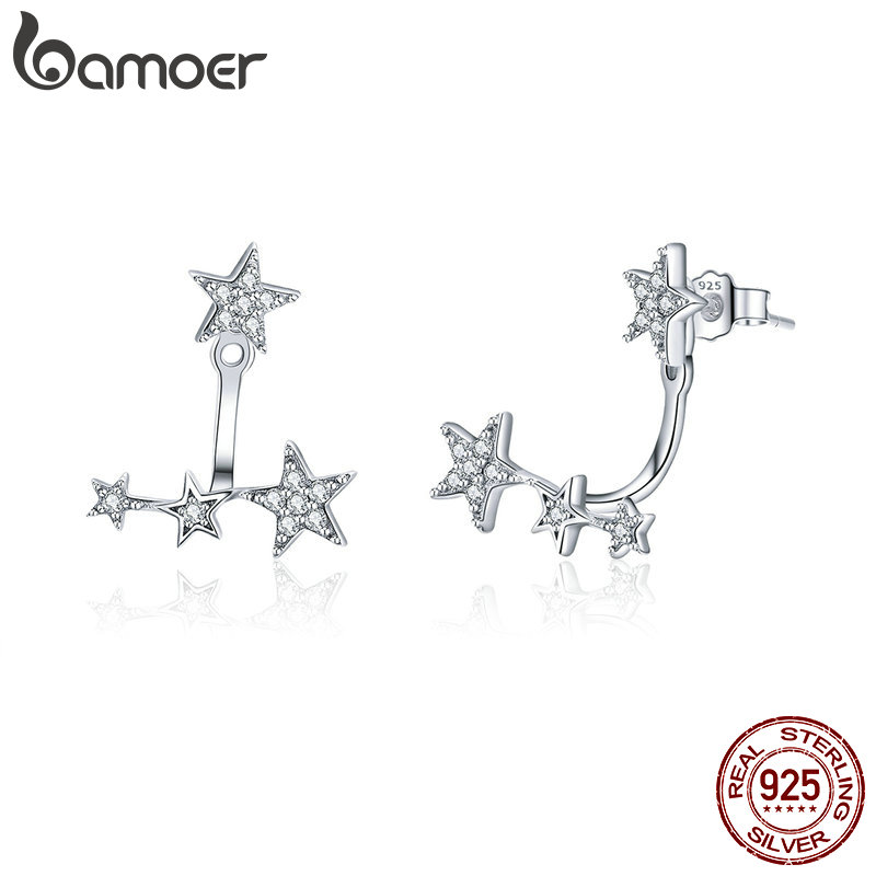 BAMOER Authentic 925 Sterling Silver Clear CZ Luminous Ear Jackets Earrings For Women Silver 925 Women Girl Gifts Jewelry SCE448