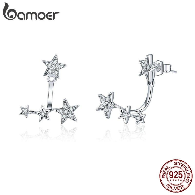 BAMOER Authentic 925 Sterling Silver Clear CZ Luminous Ear Jackets Earrings For Women Silver 925 Women Girl Gifts Jewelry SCE448