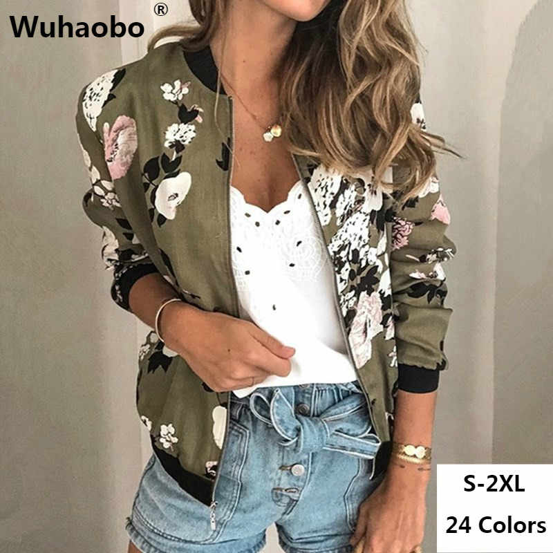 Wuhaobo Fashion Retro Floral Print Women Coat Casual Zipper Up Bomber Jacket Ladies Casual Autumn Outwear Coats Women Clothing