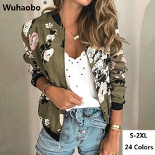 Wuhaobo Fashion Retro Floral Print Women Coat Casual Zipper Up Bomber Jacket Lad