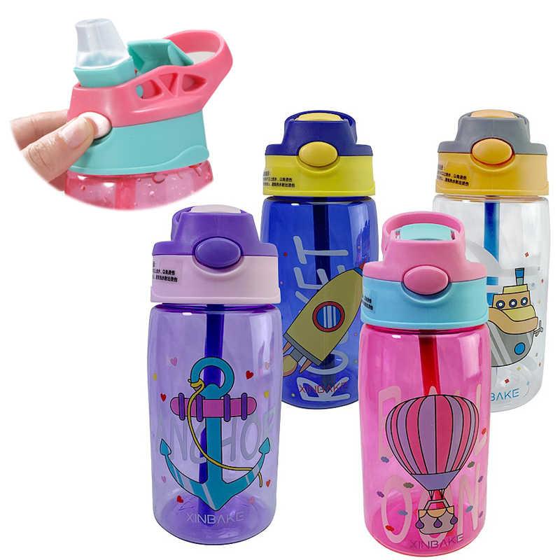 ילדי מים קש כוס יצירתי קריקטורה תינוק האכלת כוסות עם קשיות Leakproof בקבוקי מים חיצוני נייד ילדי של כוסות