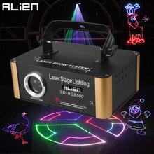 ALIEN 500mW RGB DMX SD 카드 애니메이션 레이저 프로젝터 프로 DJ 디스코 무대 조명 효과 파티 웨딩 홀리데이 클럽 바 스캐너