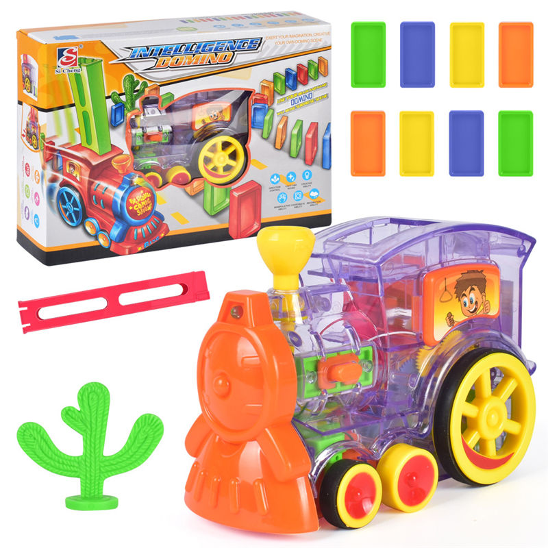 1 поезд+ 60 шт. домино ралли электронный поезд модель ребенок обучающая игрушка девочка мальчик ребенок Рождественский подарок - Цвет: 02