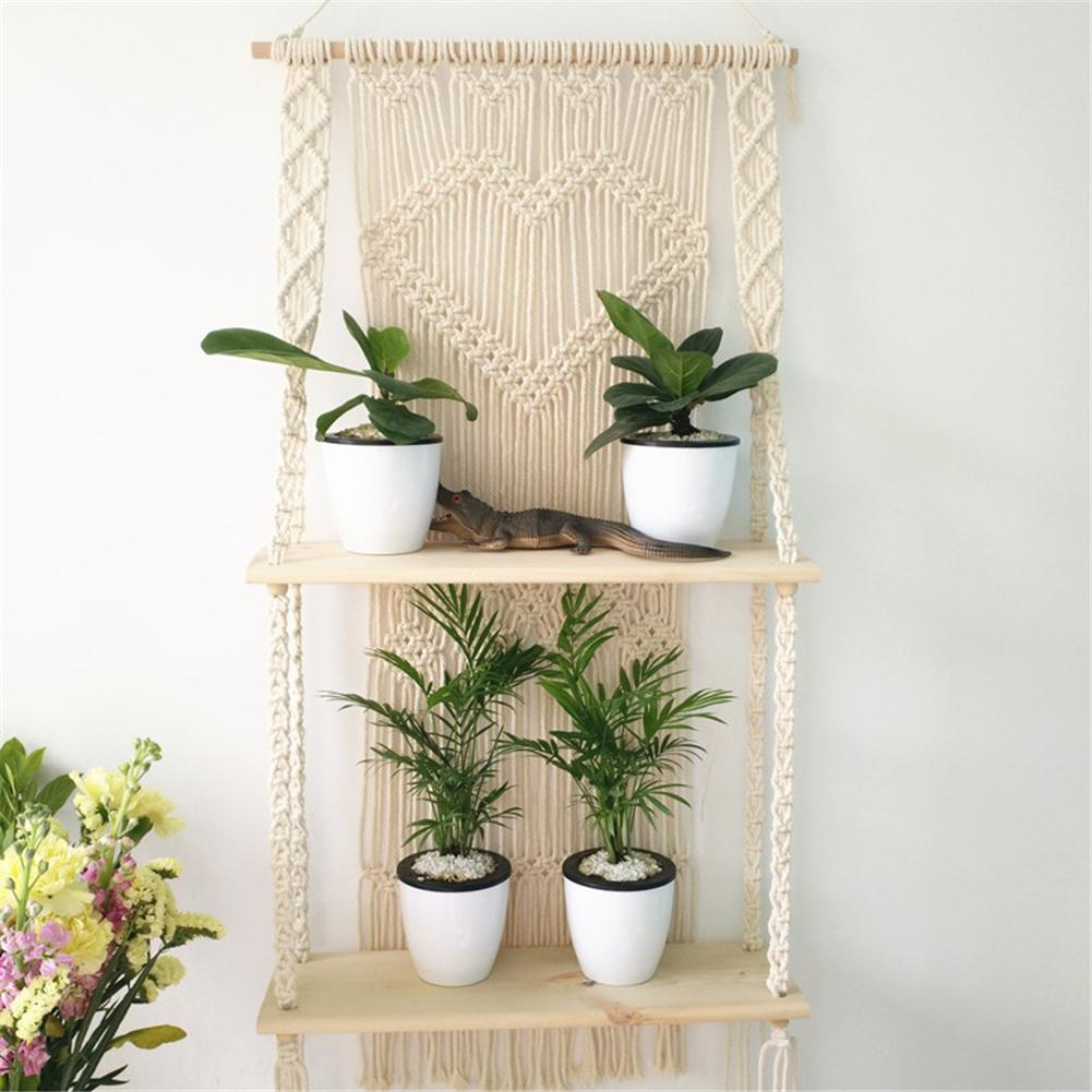 Macrame Plant Hanger Basket Bohemian Handwoven Plant Hanger Pot Shelf Tapestry Double Layer Macrame Home Garden Decoration