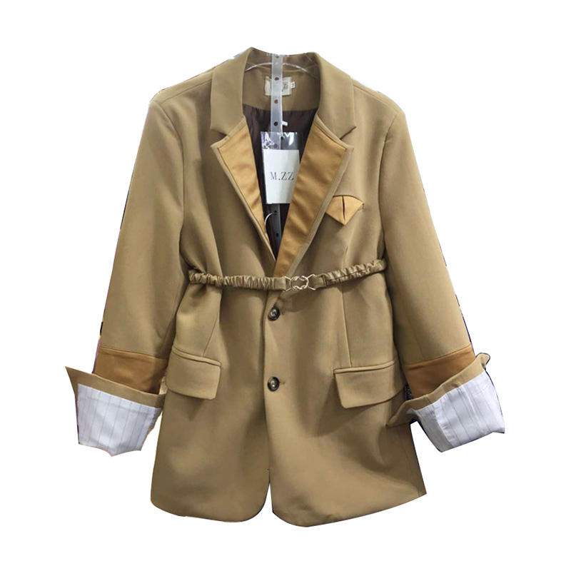 LANMREM 2020 Waist Shoulder Pad Small Suit Jacket Fashion Temperament Casual Belt Single-breasted Long-sleeved Suit 19B-a419