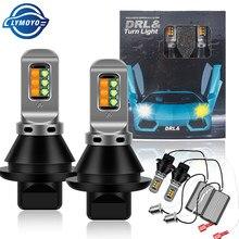 Canbus DRL LED P21W Led PY21W BA15S BAU15S T20 7440 W21W 3030 12LED gündüz koşu işık dönüş sinyal ışığı çift mod DC12V