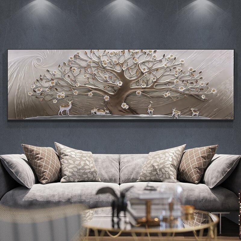 Fortuin Boom Woonkamer Decoratie Schilderen Moderne Minimalistische Sofa Achtergrond Muur 3d Muurschildering Geluk Reliëf Europese Schilderkunst