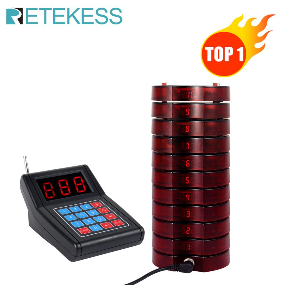 RETEKESS SU-668 Pager Restaurant 999 Channel Wireless Calling System With 10 Coaster Pagers For Waiter Pagers For Queue System