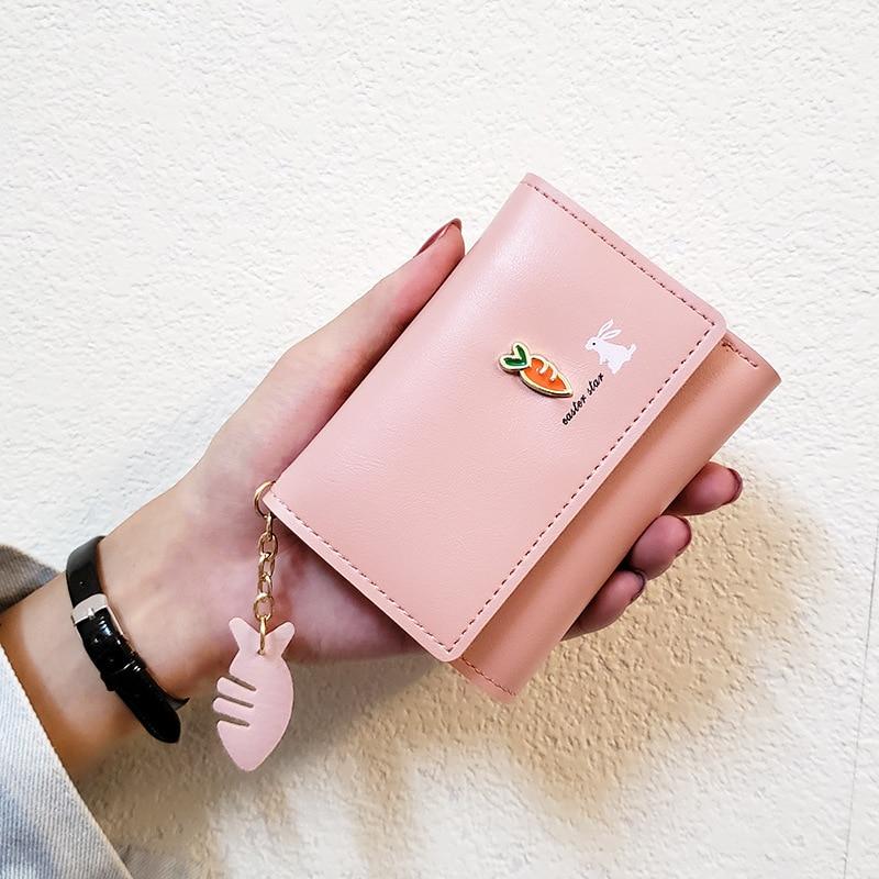 2020 new PU Leather Women's wallets Lovely Rabbit & Carrot Women purses Short Thin Small wallet Korean Fahsion womens billfolds