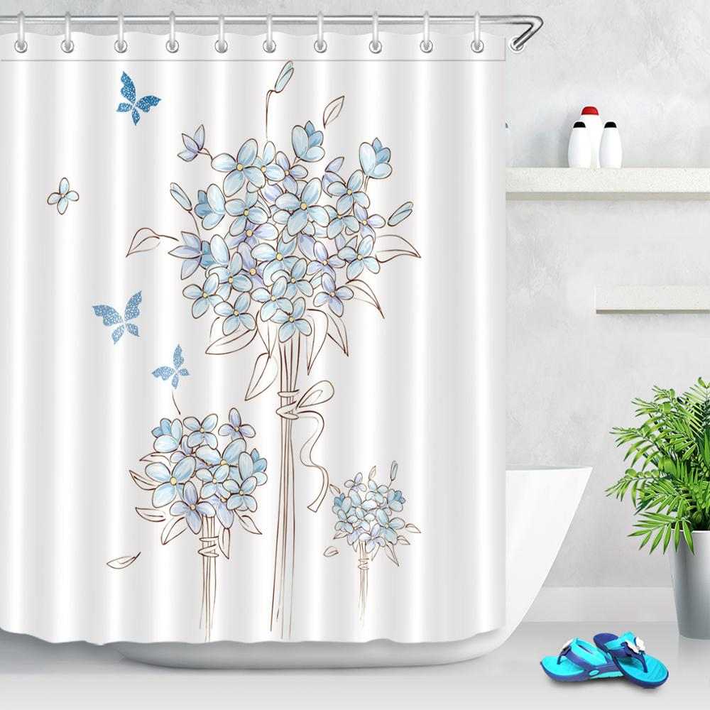 light blue flower butterfly pattern shower curtains watercolor floral white background fabric bath curtains for bathroom decor