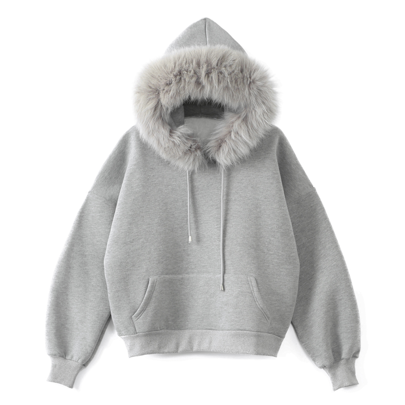 2019 Women Winter Solid Color Thicken Fleece Hoodies Sweatshirt Long Sleeve Faux Fur Hooded Pullover Top Hoodie