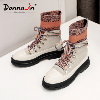 Donna-in Genuine Leather Women Winter Sock Boots Platform Lace Up Short Plush Stretch Stockings Shoes Ladies Chunky Heel Colored