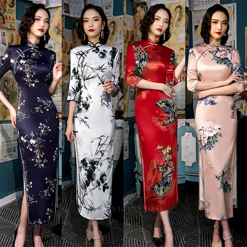 2020 Chinese Traditional Cheongsam Women Split Qipao Dress Long Robes Satin Female Party Elegant Ladies Vintage Bodycon Clothing