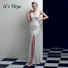 Evening-Dress Backless Crystal Robe-De-Soiree Mermaid Sleeveless Yiiya Split V-Neck Floor-Length